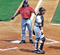 A clean-shaven Johnny Damon stared down an umpire in a 2005 spring training game. By Googie man on en.wikipedia (From en.wikipedia; description page is (was) here) [GFDL (www.gnu.org/copyleft/fdl.html) or CC-BY-SA-3.0 (http://creativecommons.org/licenses/by-sa/3.0/)], via Wikimedia Commons