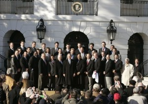 "This ""team picture"" of the 2004 World Series champs was taken during a 2005 congratulatory ceremony at the White House. By Paul Morse [Public domain], via Wikimedia Commons"