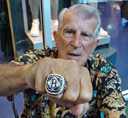 In 2006, Red Sox legend Johnny Pesky proudly displayed his World Series ring. By Hackhix (Own work) [CC BY-SA 3.0 (http://creativecommons.org/licenses/by-sa/3.0)], via Wikimedia Commons
