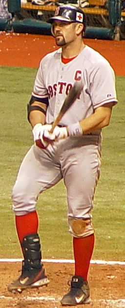 "Sporting the ""C"" on his jersey, Jason Varitek led Boston's 2004 rise. Googie man at the English language Wikipedia [GFDL (www.gnu.org/copyleft/fdl.html) or CC-BY-SA-3.0 (http://creativecommons.org/licenses/by-sa/3.0/)], via Wikimedia Commons"