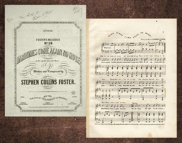 Stephen Foster Hard Times sheet music